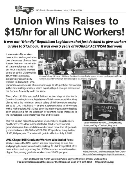 "North Carolina Public Workers Union, UE Local 150, Newsletter titled ""Union Wins Raises to $15/hr for all UNC Workers!"""