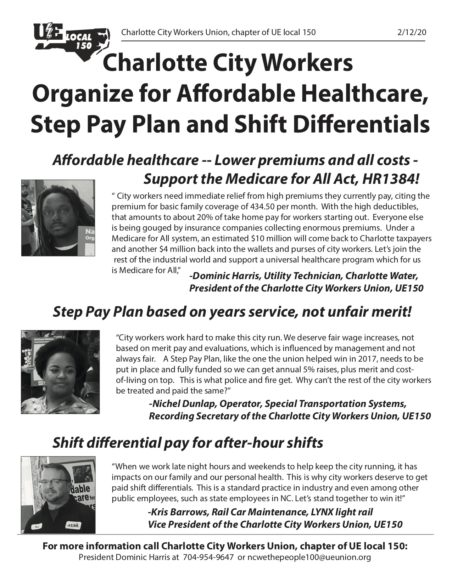 "Charlotte City Workers Union's Newsletter (March 2020) titled - ""Charlotte City Workers Organize for Affordable Healthcare, Step Pay Plan and Shift Differentials"""