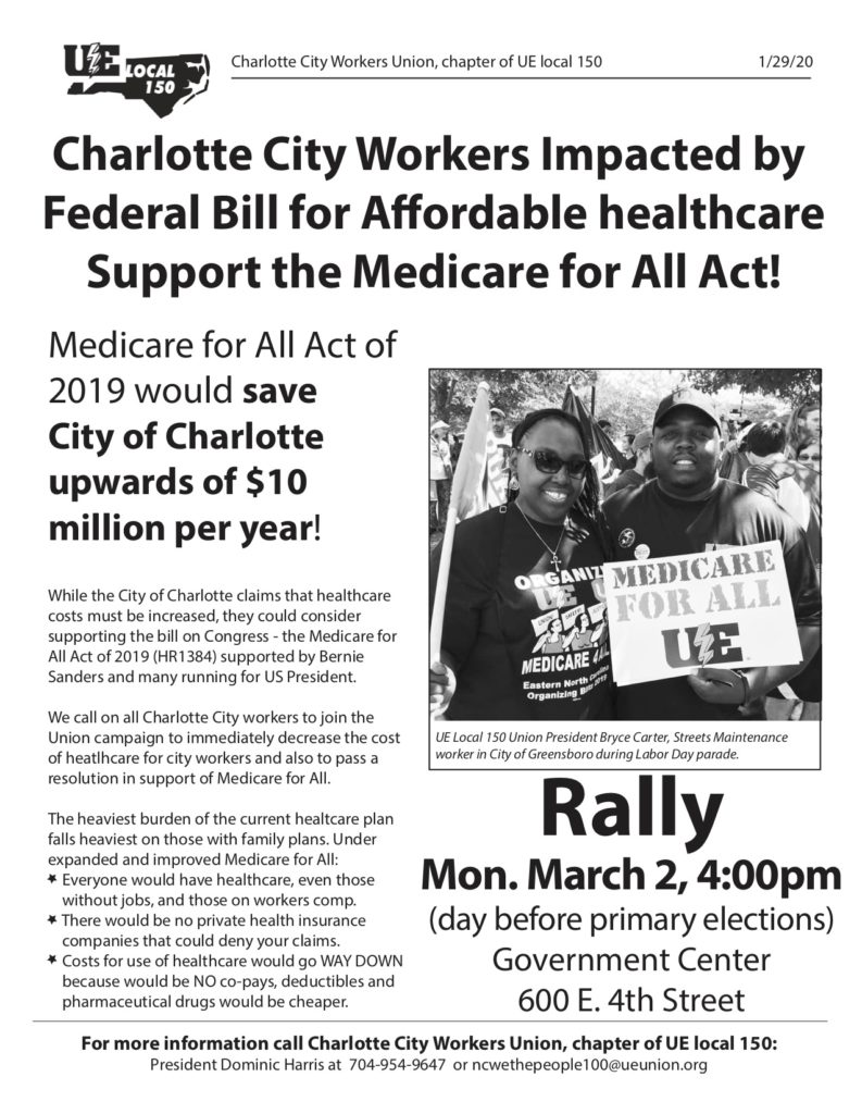 A newsletter by Charlotte City Workers Union, chapter for UE Local 150, on January 29, 2020