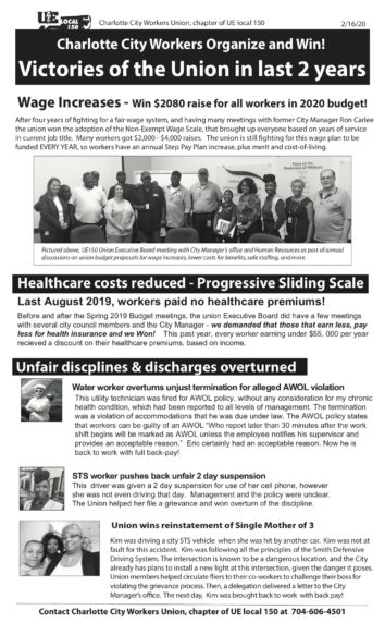 "Charlotte City Workers Union's, chapter of UE Local 150, newsletter titled ""Charlotte City Workers Organize and Win! Victories of the Union in last 2 years"""